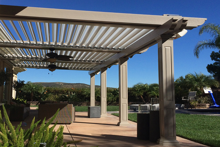 motorized louvered roof patio cover system